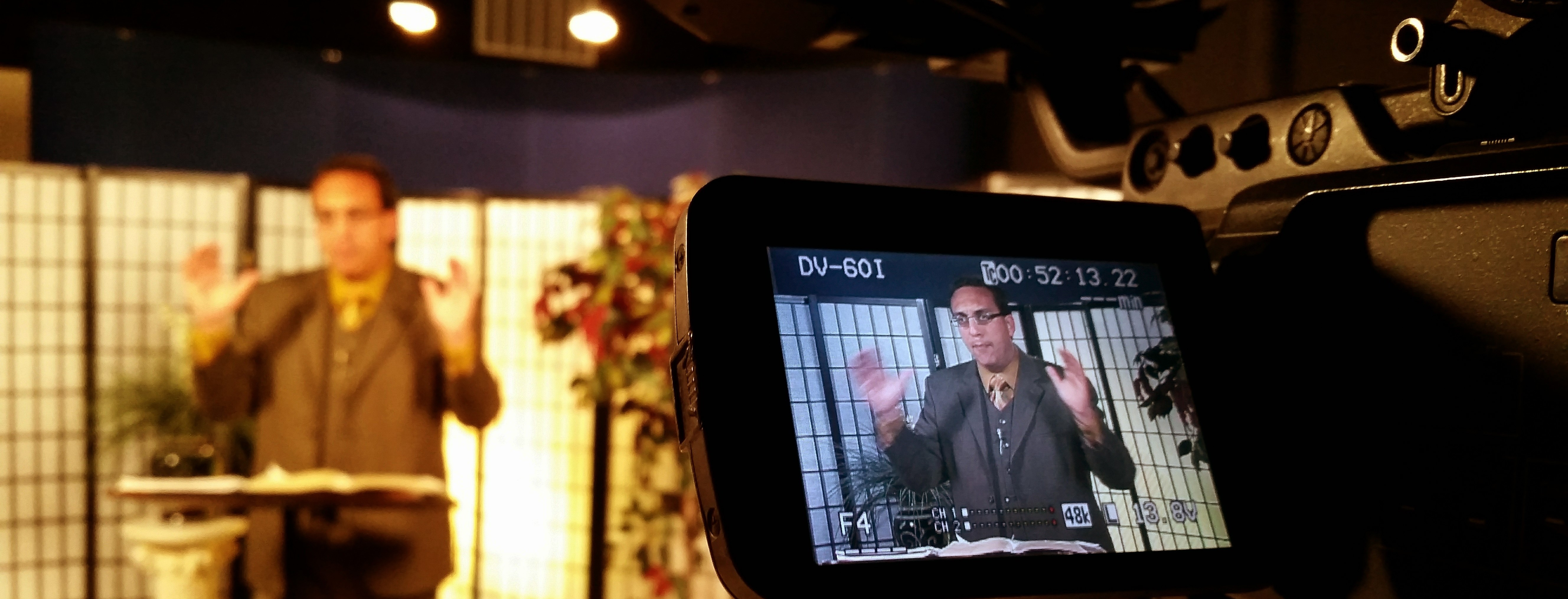 Filming on set with Living For Christ